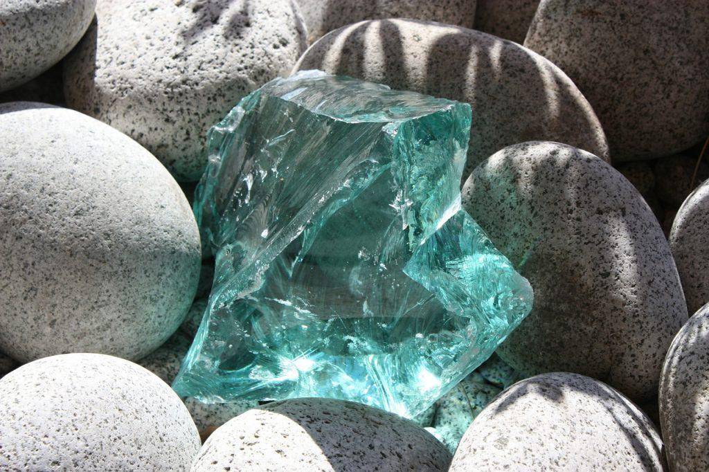 blå krystal